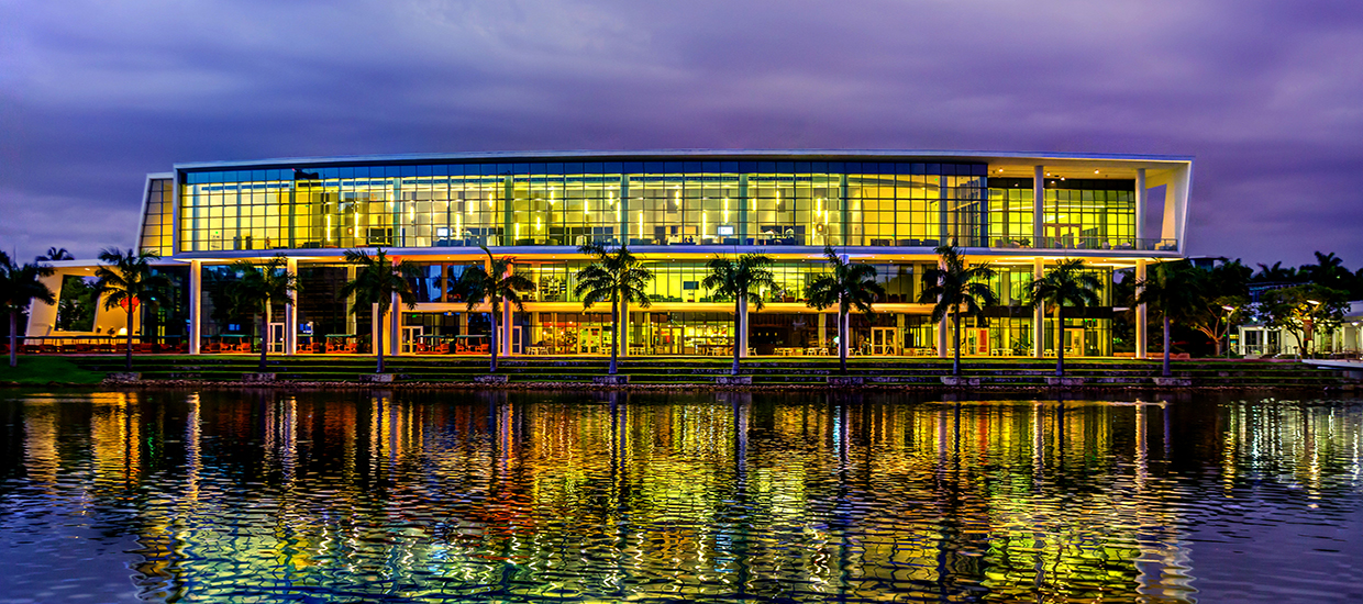 A photo of the Shalala Student Center at night on the University of Miami Coral Gables campus.