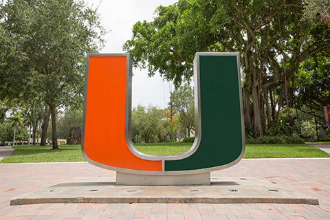 "A photo of ""the rock,"" also known as ""the U"" statue at the University of Miami Coral Gables campus."